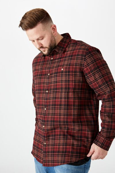 Bg Rugged Long Sleeve Shirt, BURNT ORANGE CHECK