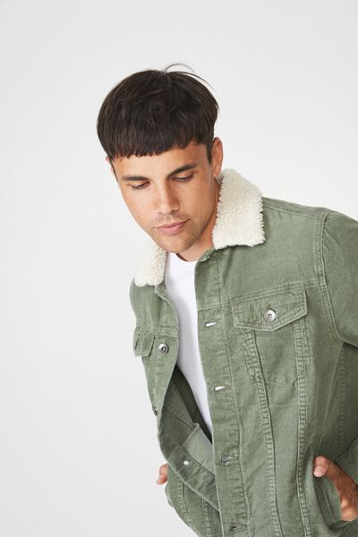 Sherpa Collar Rodeo Jacket, OLIVE