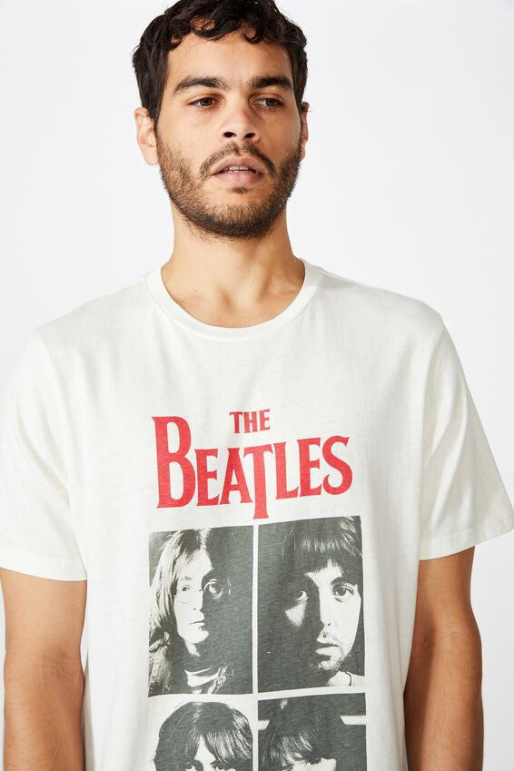Tbar Collab Music T-Shirt, LCN APP VINTAGE WHITE/THE BEATLES - LET IT BE