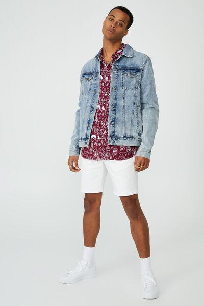Kakao Short Sleeve Shirt, LCN KAK BURGUNDY SKETCH