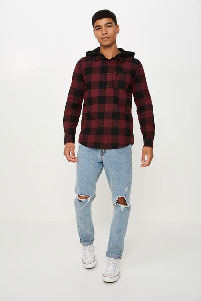 Rugged Hooded Shirt, PLUM BLACK CHECK