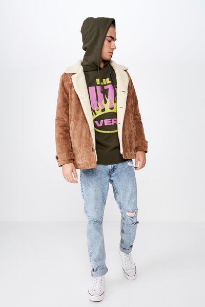 Collab Fleece Pullover, LCN WMG THYME GREEN/LIL UZI VERT FLAME LOGO