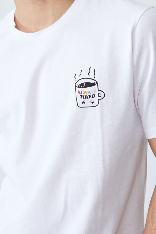 Tbar Art T-Shirt, WHITE/ALWAYS TIRED COFFEE