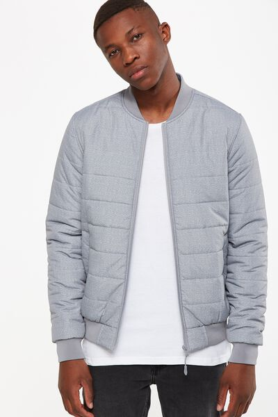 Quilted Bomber Jacket, GREY MARLE