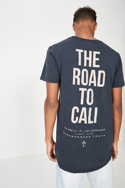 Longline Scoop Hem Tee, BLACK ACID/THE ROAD TO CALI