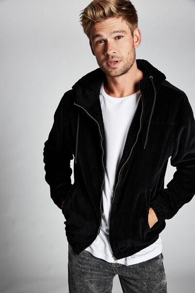 Hooded Cord Jacket, BLACK