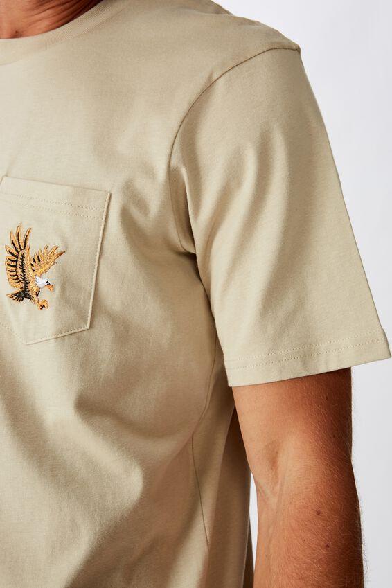 Tbar Art T-Shirt, SK8 PALE SAND/FLYING EAGLE EMBROID