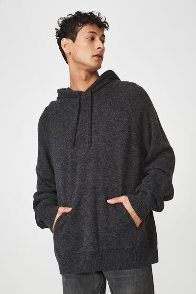 Hooded Sweater Knit, BLACK MARLE