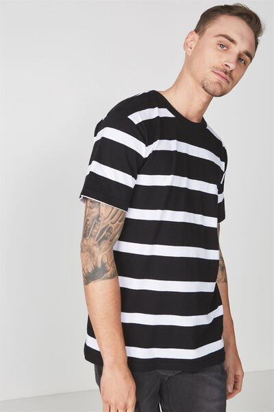 Downtown Loose Fit Tee, BLACK/WHITE WIDE STRIPE