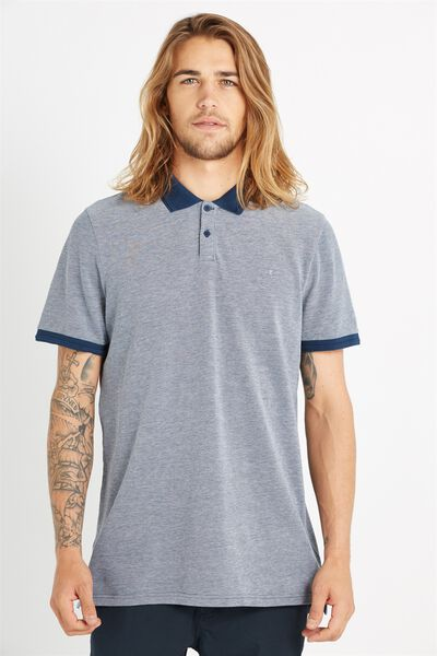 Short Sleeve Pigment Dyed Polo, BLUE TWIST