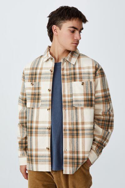 Heavy Overshirt, ECRU CHECK
