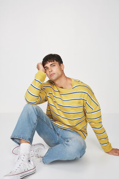 Drop Shoulder Long Sleeve, BAMBOO YELLOW/WHITE/BLUE DELIGHT ACID STRIPE