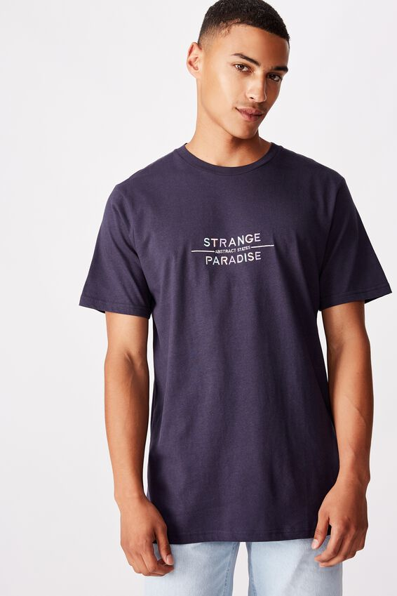 Tbar Text T-Shirt, TRUE NAVY/STRANGE PARADISE EMB