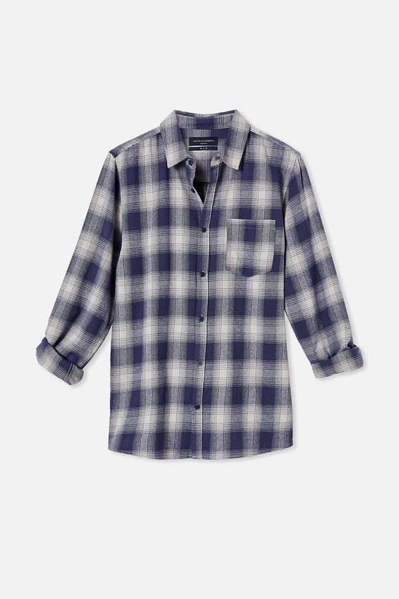 Washed Long Sleeve Check Shirt, MID BLUE OMBRE CHECK