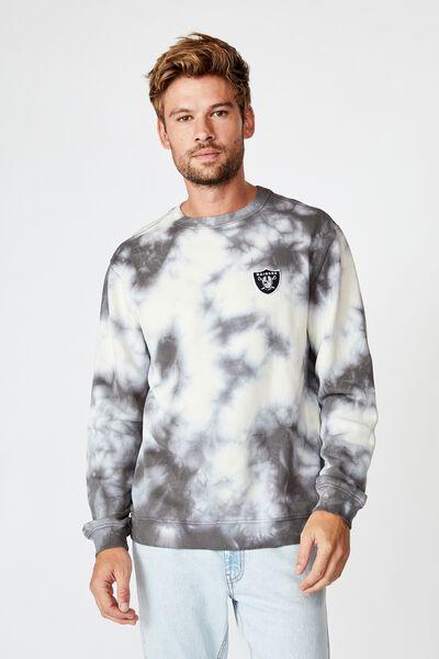 Premium Collab Crew Fleece, LCN NFL TIE DYE/RAIDERS