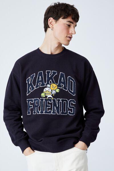 Kakao Friends Crew Fleece, LCN KAK INK NAVY/KAKAO COLLEGE LOGO