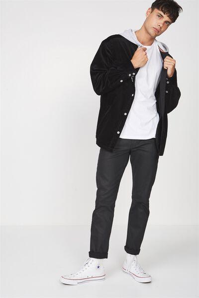 Hooded Cord Shirt, BLACK