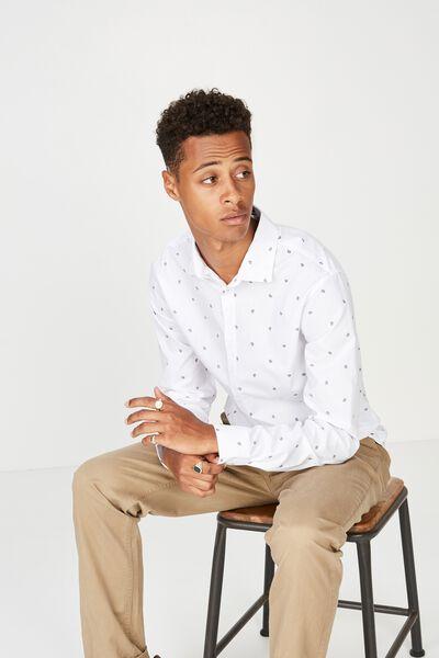 Slim Smart Shirt, WHITE GEO PAISLEY