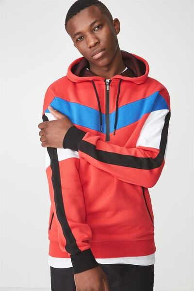 Drop Shoulder Pullover Fleece, STRONG RED/BLACK/WHITE/ELECTRIC BLUE