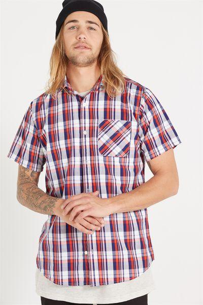 Vintage Prep Short Sleeve Shirt, RED HIGHLIGHT TABLE CHECK