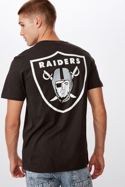 Tbar Collab Pop Culture T-Shirt, LCN NFL WASHED BLACK/RAIDERS SHIELD