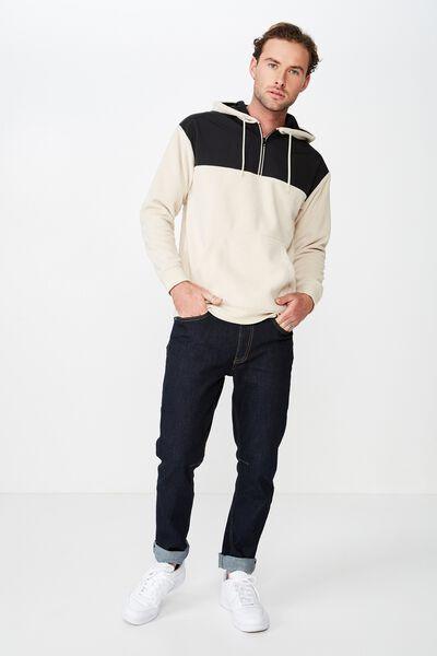 Drop Shoulder Polar Fleece Hood, PEARL/BLACK NYLON