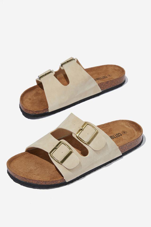 Double Buckle Sandal, STONE/TEXTURE