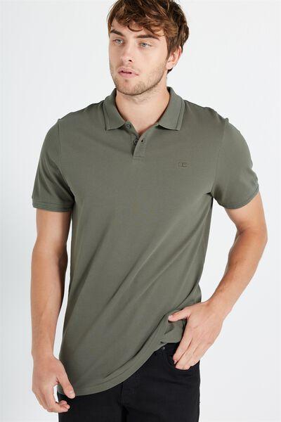 Short Sleeve Pigment Dyed Polo, KHAKI