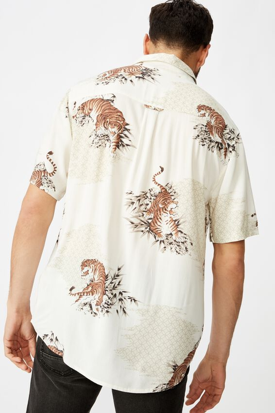 Short Sleeve Resort Shirt, VINTAGE WHITE LANDSCAPE