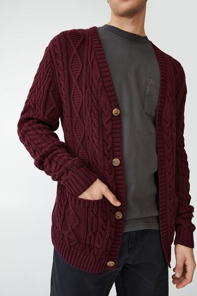 Cable Cardigan, BURGUNDY