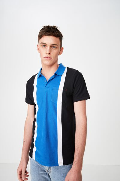 Icon Polo, BLACK COBOLT WHITE BOLD STRIPE