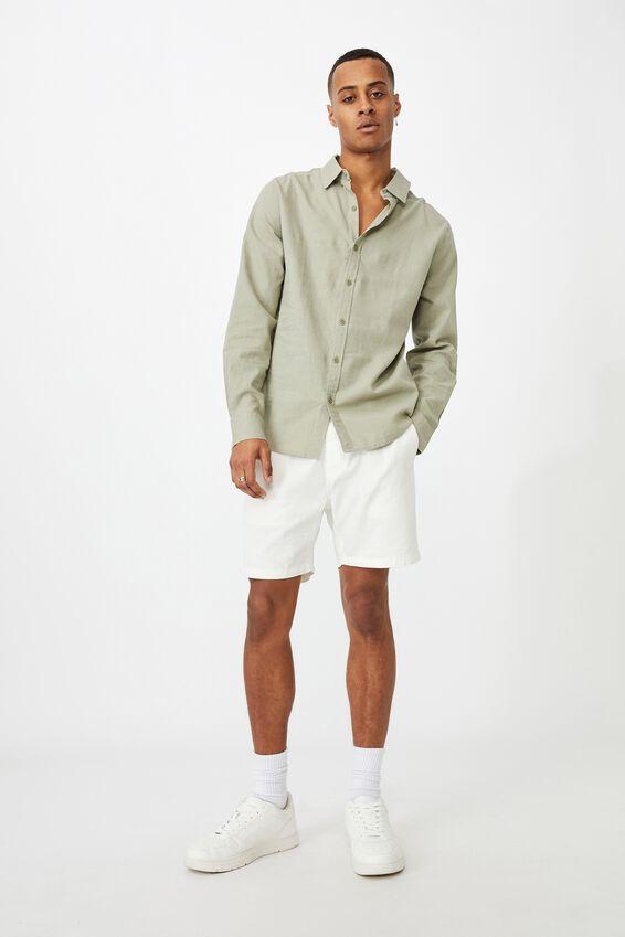 Linen Cotton Long Sleeve Shirt, FATIGUE