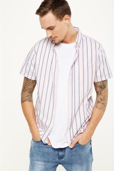 Vintage Prep Short Sleeve Shirt, PINK NAVY STRIPE
