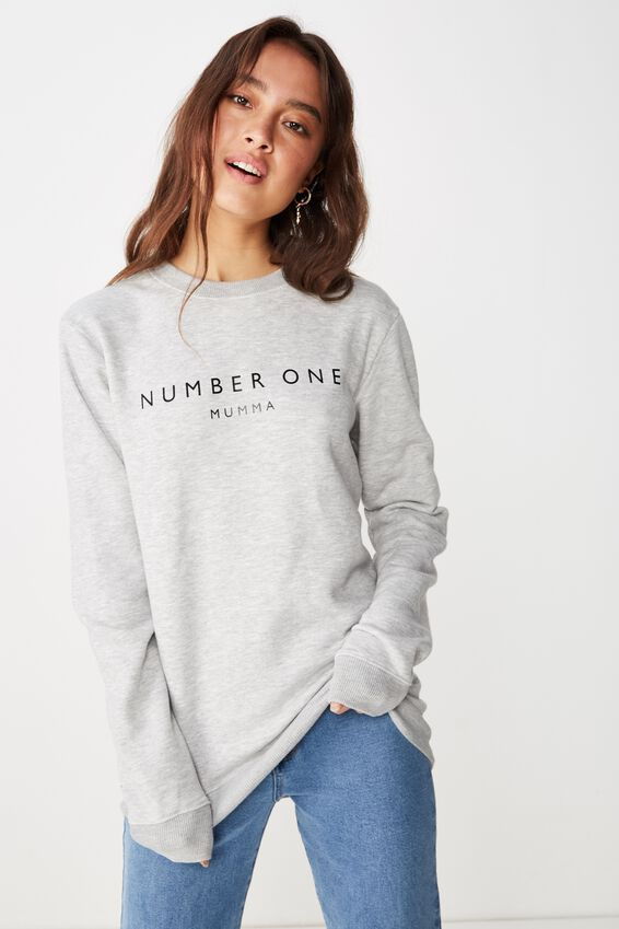 Personalised Unisex Crew Fleece, LIGHT GREY MARLE