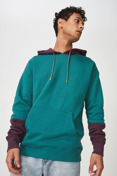 Drop Shoulder Pullover Fleece, SEA GREEN/EGGPLANT/SLEEVE BLOCK