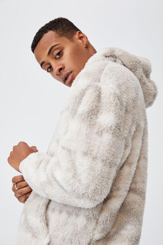 Drop Shoulder Teddy Fleece Hood, ECRU IKAT