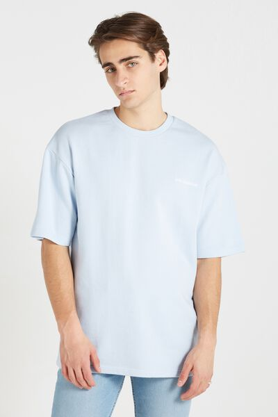 Among Equals Drop Shoulder Fleece Tee, TALC BLUE/ANTI SOCIALITE