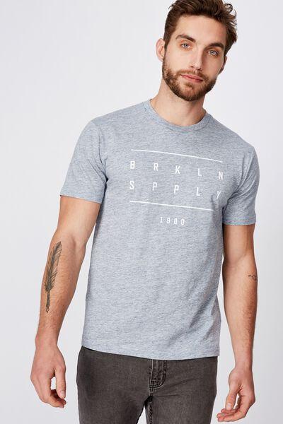 Tbar Text T-Shirt, ICE BLUE SLUB MARLE/BRKLYN SPPLY 1980
