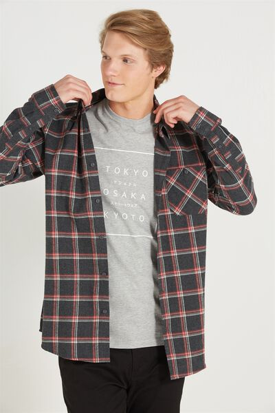 Rugged Long Sleeve Shirt, GREY CHECK