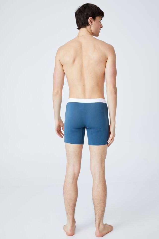 Mens Organic Cotton Long Leg Trunks, OCEAN BLUE/WHITE
