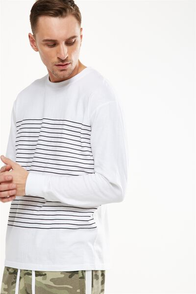 Graduate Ls Tee, WHITE/BLACK PLACEMENT STRIPE