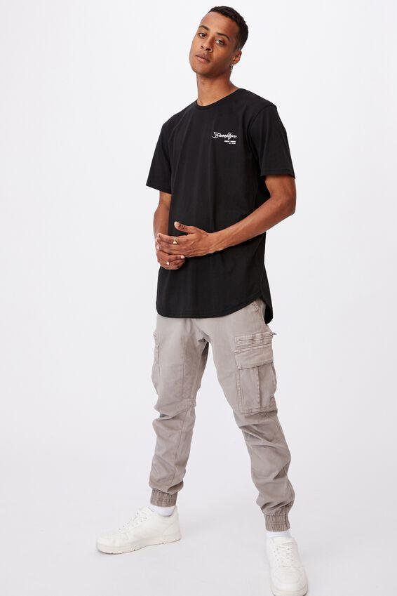 Longline Scoop T-Shirt, BLACK/CROSSHAIRS