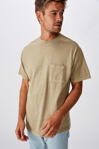 Loose Fit Washed Pocket Tee, GRAVEL STONE