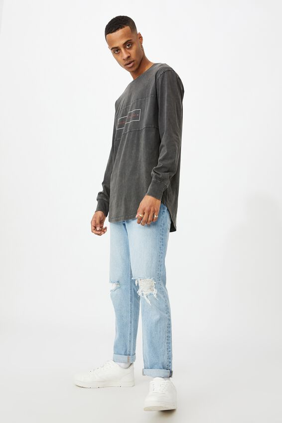 Longline Scoop Ls Tee, WASHED BLACK/CHAOS FLIPPED