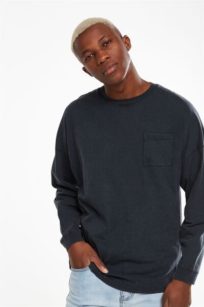 Drop Shoulder Long Sleeve, BLACK ACID