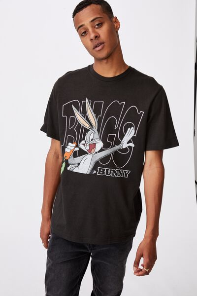 Tbar Collab Character T-Shirt, LCN WB WASHED BLACK/BUGS BUNNY-CARROT