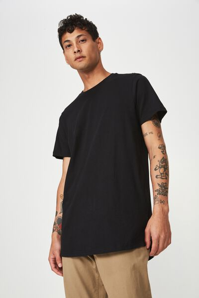 Essential Longline Curved Hem, BLACK