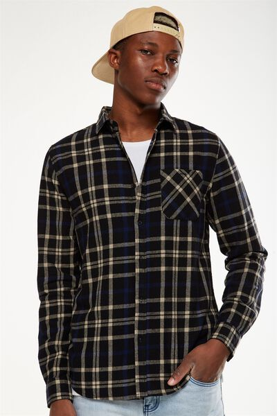 Rugged Long Sleeve Shirt, BLACK GREY WINDOW CHECK