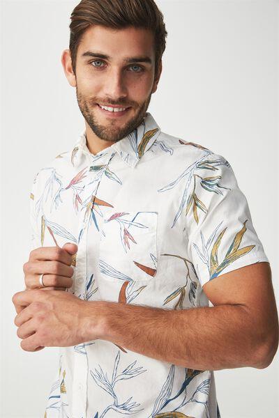 Vintage Prep Short Sleeve Shirt, WHITE PARADISE