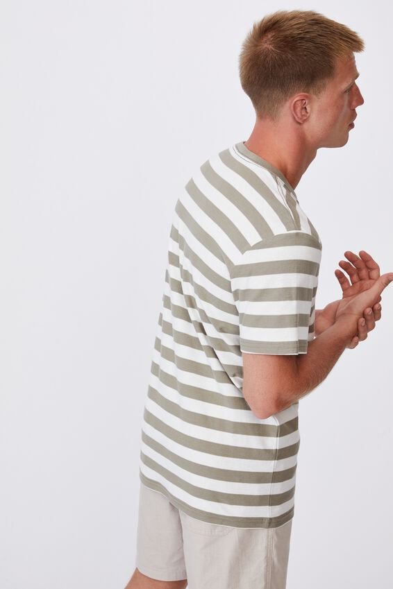 Graduate T-Shirt, MOSS STONE/VINTAGE WHITE 50/50 STRIPE
